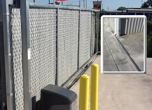 Commercial Fence with track, www.moseleyfence.com