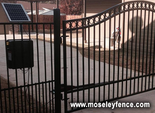 Wrought Iron Gate with Solar Panel, www.moseleyfence.com / www.cleburnefence.com